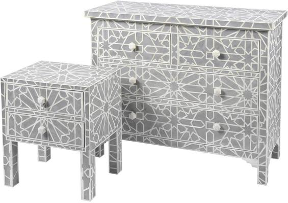 Floreat Mottled Blue Grey Bone Inlaid 4 Drawer Chest image 2