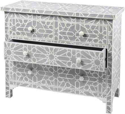 Floreat Mottled Blue Grey Bone Inlaid 4 Drawer Chest image 3