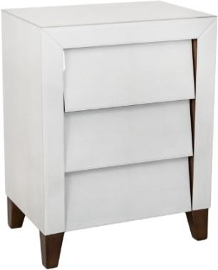 Iced Ivory Shargreen Slanted 3 Drawer Bedside Table