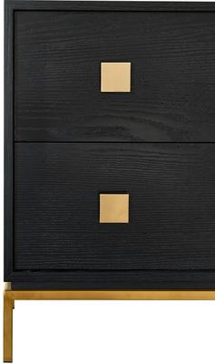 Lille Wenge Oak Chest of 2 Drawers with Brass Legs image 3