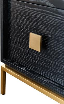 Lille Wenge Oak Chest of 2 Drawers with Brass Legs image 4