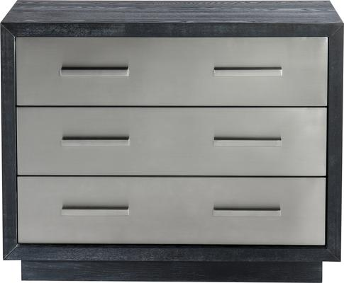 Camden Chest of 3 Drawers Black and Stainless Steel