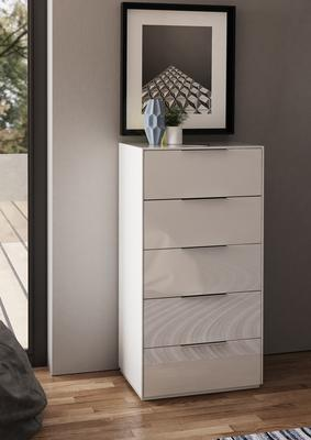Smart Pure White Gloss Tall Chest 5 Drawers with hidden wireless Phone Charging image 2