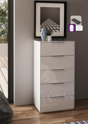 Smart Pure White Gloss Tall Chest 5 Drawers with hidden wireless Phone Charging