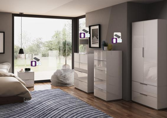 Smart Pure White Gloss Tall Chest 5 Drawers with hidden wireless Phone Charging image 3