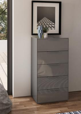 Smart Pure Grey Gloss Tall Chest 5 Drawers with hidden wireless Phone Charging image 2