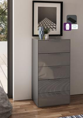 Smart Pure Grey Gloss Tall Chest 5 Drawers with hidden wireless Phone Charging