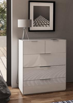 Smart Pure White Gloss Large Chest 5 Drawers with hidden wireless Phone Charging image 2