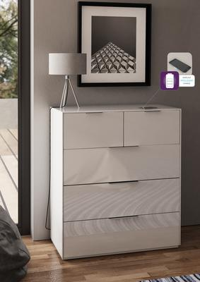 Smart Pure White Gloss Large Chest 5 Drawers with hidden wireless Phone Charging