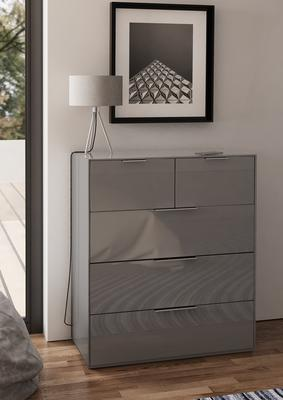 Smart Pure Grey Gloss Large Chest 5 Drawers with hidden wireless Phone Charging image 2