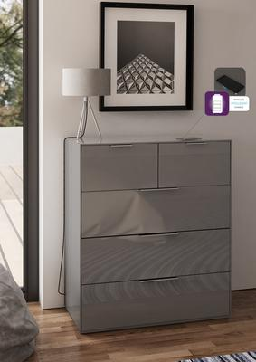 Smart Pure Grey Gloss Large Chest 5 Drawers with hidden wireless Phone Charging