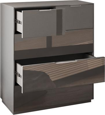 Smart Pure Grey Gloss Large Chest 5 Drawers with hidden wireless Phone Charging image 5