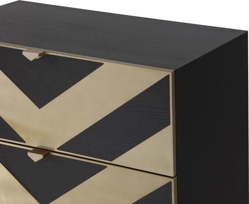 Unma Chest of Drawers Black and Metallic Retro Chevrons image 5