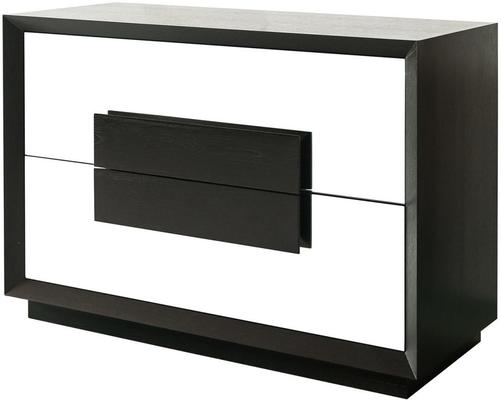 Etna Chest of 2 Mirrored Drawers Wenge Wood Frame