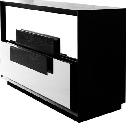 Etna Chest of 2 Mirrored Drawers Wenge Wood Frame image 3