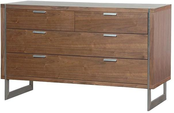 Morcott Walnut and Steel Two Over Two Chest of Drawers