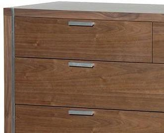 Morcott Walnut and Steel Two Over Two Chest of Drawers image 2