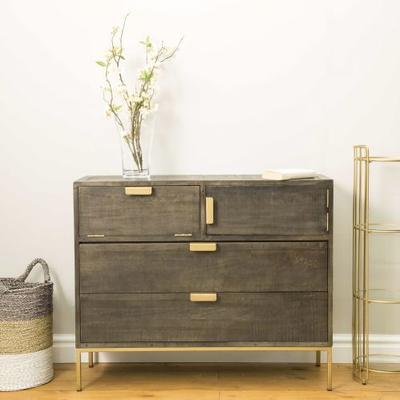 Fitzgerald Black And Gold Two Drawer Two Door Chest