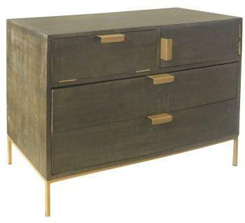 Fitzgerald Black And Gold Two Drawer Two Door Chest image 2