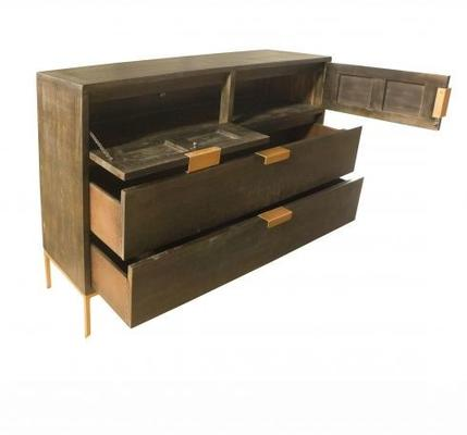 Fitzgerald Black And Gold Two Drawer Two Door Chest image 4