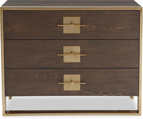 Ophir Chest Of Drawers Dark Brown Oak with Brass Handles image 2