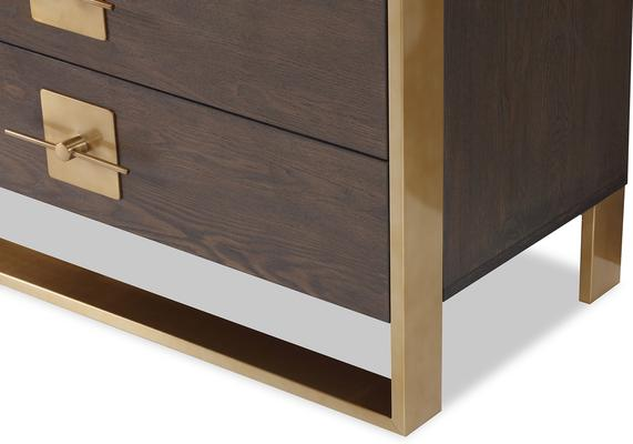 Ophir Chest Of Drawers Dark Brown Oak with Brass Handles image 4