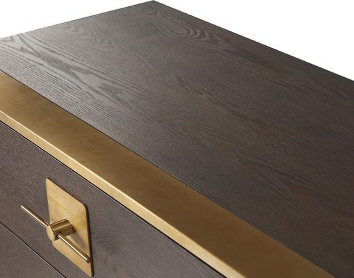Ophir Chest Of Drawers Dark Brown Oak with Brass Handles image 5