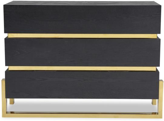 Enigma Black Ash Chest Of Drawers with Brass Detail image 2
