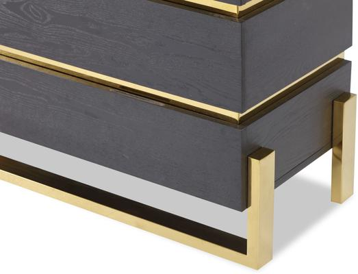 Enigma Black Ash Chest Of Drawers with Brass Detail image 4