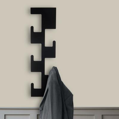 Retro Vertical Metal Coat Rack - Black