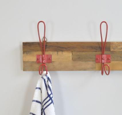 Industrial Vintage Wooden Six Hook Wall Plaque - Red image 2