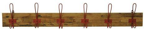 Industrial Vintage Wooden Six Hook Wall Plaque - Red image 5