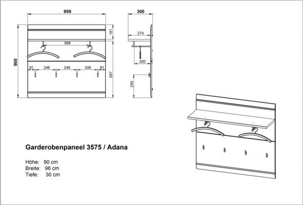 Adelle Coat Rack Panel - White image 3