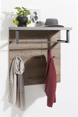 Manhattan Coat Rack - Grey and New Aged Oak Finish