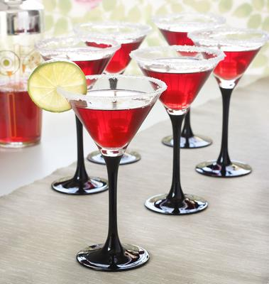 4 x Black Stem Cocktail Martini 260ml Glasses image 2