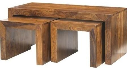 Cube Indian Wood John Long Coffee Table Set