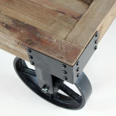 Industrial Coffee Table on Wheels image 2