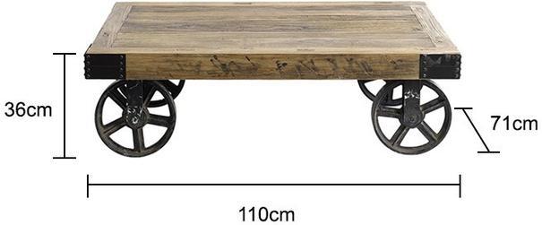 Industrial Coffee Table on Wheels image 5