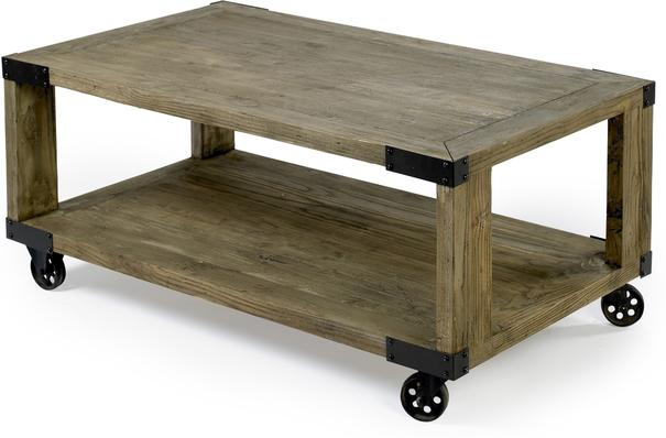 Industrial Coffee Table with Metal Wheels