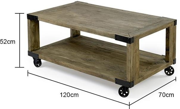 Industrial Coffee Table with Metal Wheels image 2