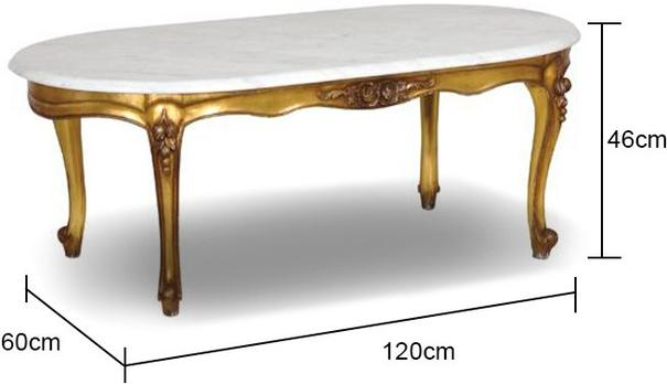Gold French Coffee Table Marble Top image 2