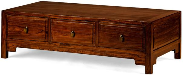 Three Drawer Kang Table, Warm Elm