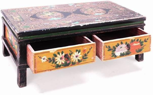 Painted Two Drawer Gansu Table image 2