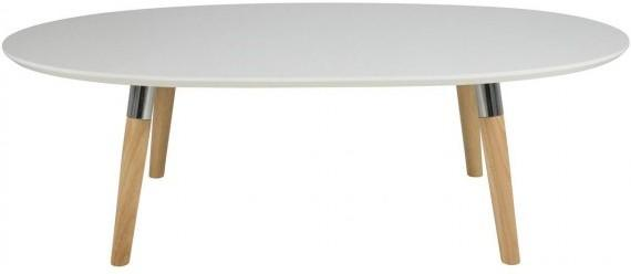 Belina Modern Coffee Table White Lacquer Top and Oak Legs