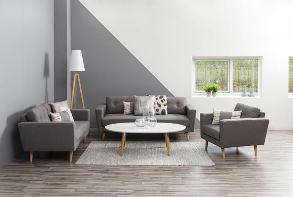 Belina Modern Coffee Table White Lacquer Top and Oak Legs image 2