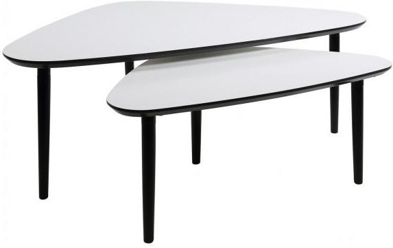 Ganic Contemporary Coffee Table Set White Top Black Legs