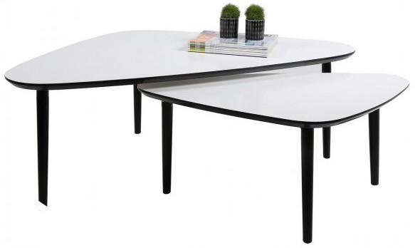 Ganic Contemporary Coffee Table Set White Top Black Legs image 2
