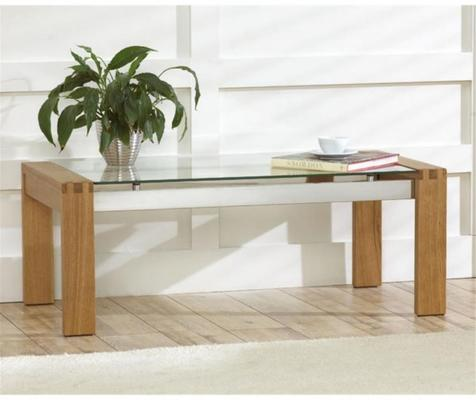 Utah oak and glass coffee table