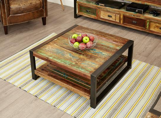 Shoreditch Square Coffee Table Reclaimed Wood image 3