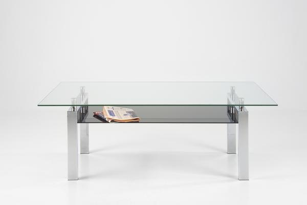 Calem Modern Coffee Table Glass and Chrome